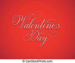 valentine, clásico, retro, día, diseño, caligrafía, rojo