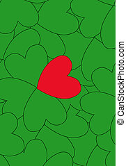 Valentine clover with one red and three green leaves,...