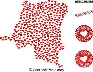 Valentine Collage Map of Democratic Republic of the Congo and Grunge Stamps for Valentines