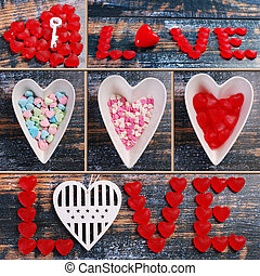 valentine collage with love symbols on wooden background
