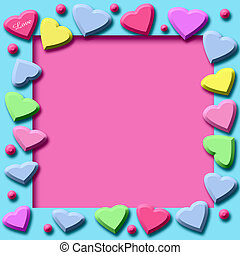 candy hearts frame - valentine colorful candy hearts frame...