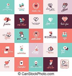 valentine, conjunto, día, iconos