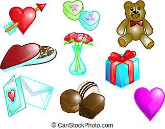 valentine, conjunto, ilustración, icono