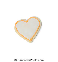 Valentine cookie heart isolated on white
