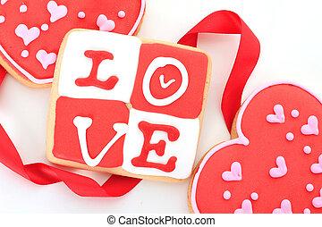 Valentine cookie - Valentine love cookie in red and white.