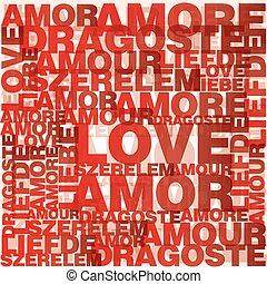 valentine, coração, amor, palavras