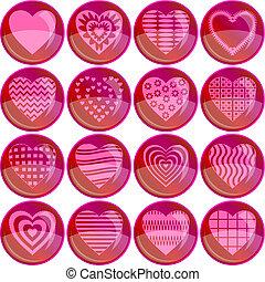 valentine, coração, jogo, botões