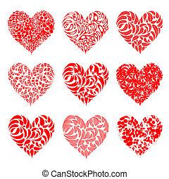 valentine, corações, vermelho, para, seu, desenho