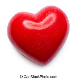 valentine, corazón, aislado, blanco, plano de fondo