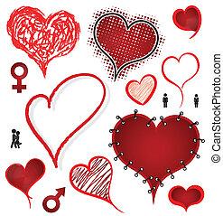 valentine, corazón, conjunto, vector., icono