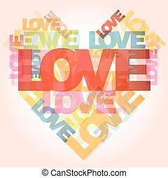 valentine, corazón, de, amor, palabras