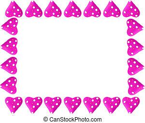 valentine, corazón, marco, o, frontera