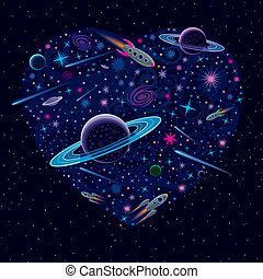 Valentine Cosmic Heart - Vector illustration with various...