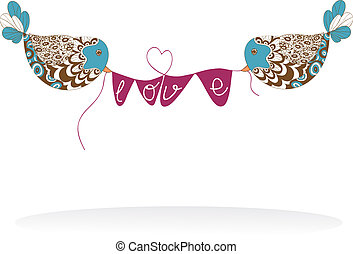 Valentine couple birds love billboard