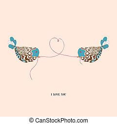 Valentine couple birds love