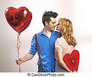 valentine, couple, jeune, séduisant, pendant, jour