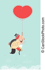 Valentine couple with flying heart ballong