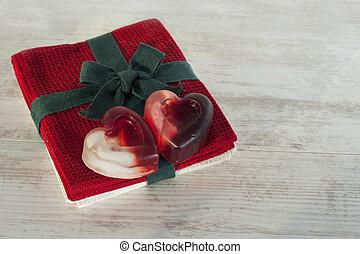 Valentine crafts - homemade heart soap.