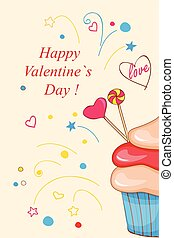 Valentine cupcake big - Festive colorful greeting card with ...
