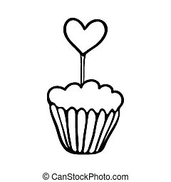 Valentine cupcake sketch with heart