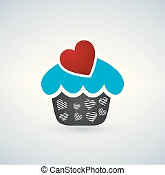 Valentine cupcake with heart