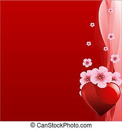 valentine, czerwone tło, dzień
