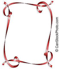 valentine, czerwony, wstążki, brzeg
