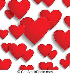 valentine, día, corazones, saludo, plano de fondo