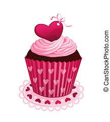 valentine, día, cupcake