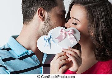 valentine, día, pareja