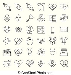 Valentine, Dating, love and romance line icon size 128 px, ...