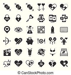 Valentine, Dating, love and romance solid icon size 128 px, ...