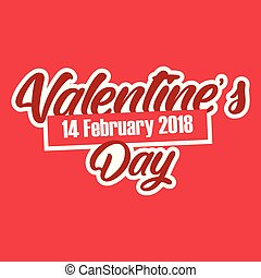 Valentine Day 14 Feb Text Vector Image