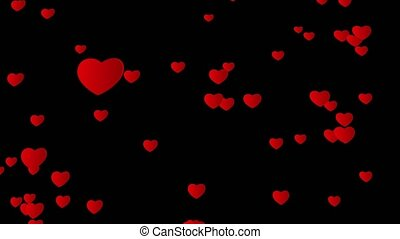 Valentine day abstract background, flying hearts. Alpha channel.