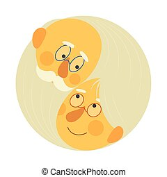 valentine, day., amor, y, marriage., pareja edad avanzada, yang de yin, -, saludos, tarjeta