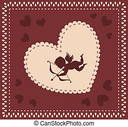 Valentine day background - Valentine cupid with bow on the...