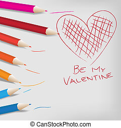 Valentine Day Background - Color Crayons and Heart