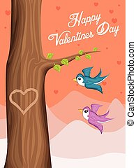 Valentine Day background with flying love birds