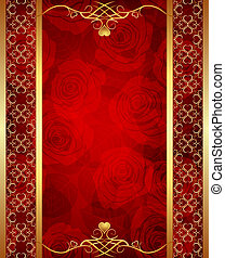 Valentine day background with golden border