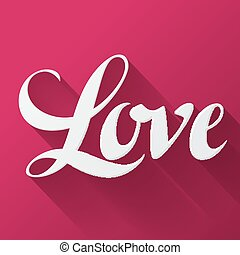 Valentine day background with word love on pink background. ...