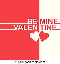 Valentine Day Be mine Valentine two tone Vector Image
