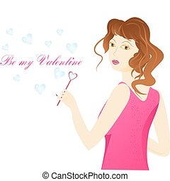 Valentine day card. Girl and soap bubbles in heart shape