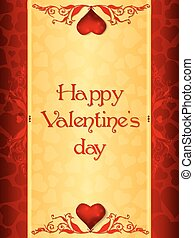 Golden Valentine' day card with red borders and hearts pattern, decorated with floral ornaments and jewel hearts