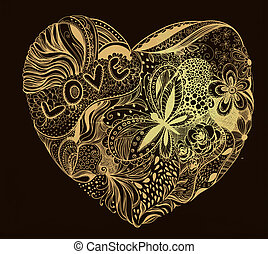 Hand - drawn heart made of flowers, petals, butterflies, leaves and patterns, letters love, Valentine day illustration