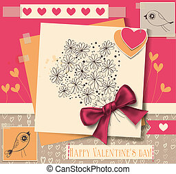 Valentine day scrapbook illustration, 2 cards with birds, 2 paper hearts and card with hand- drawn bouquet with silk bow, background with hearts