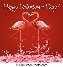 Valentine Day card with flamingos love heart