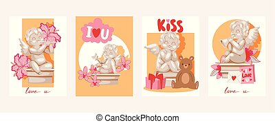 Valentine day cards angel statue vector illustration. Angelic cupid sculptures with flowers, musical instruments, gifts in cards.