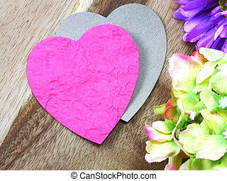 valentine day concept heart on wooden background with beautiful pink