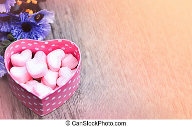 pink Marshmallows in pink heart box