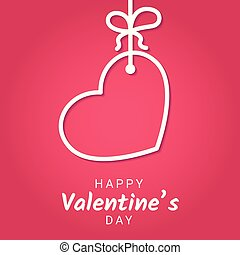 Valentine Day congratulation banner with line heart hanging on ribbon with bow on pink gradient background.